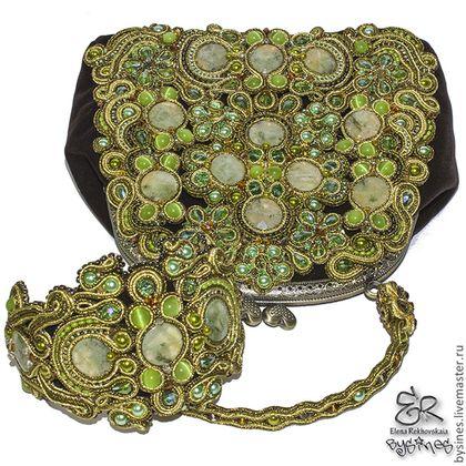 """Комплект """"Olive_green-set"""" - оливковый,бархатная сумочка,сумка ручной работы"""