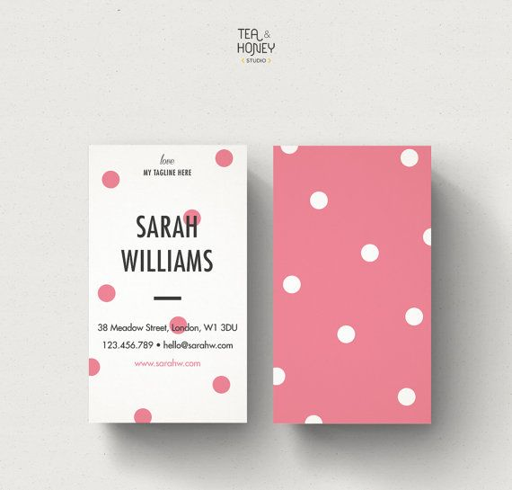 Portrait Business Card Polka dots design by TeaAndHoneyStudio