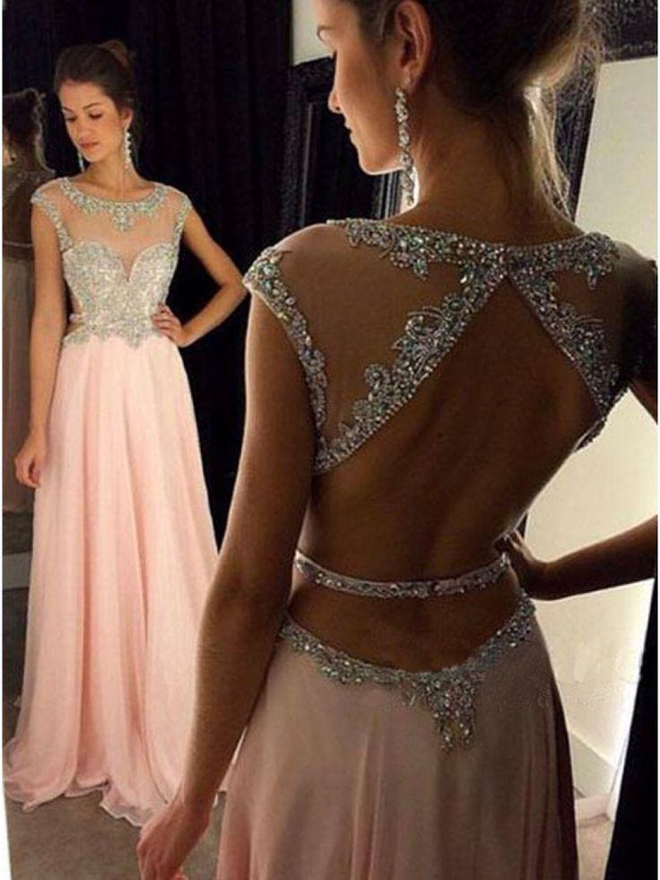 Long Pink Beaded Chiffon Prom Evening Formal Dresses 99602049