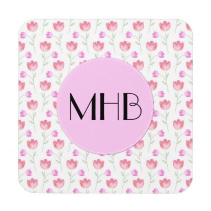 Monogram - Flowers Leaves Plant Stems - Pink Beverage Coaster - floral style flower flowers stylish diy personalize