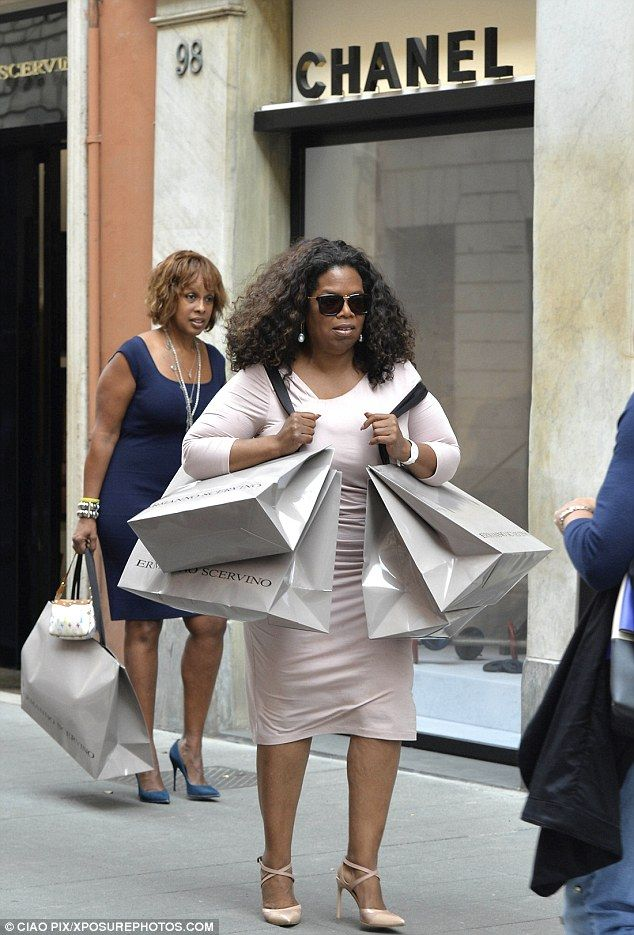 Gal pals: The OWN CEO was dutifully joined by her best friend Gayle King, who also appeared to have fun shopping on Via Condotti in the city's posh shopping district St. Peter's Square