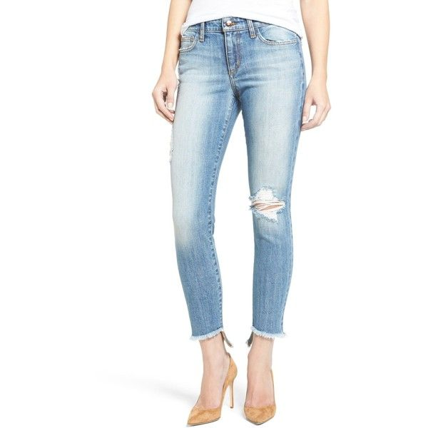 Joe's Jeans Blondie Step Hem Destroyed Ankle Skinny Jean ($80) ❤ liked on Polyvore featuring jeans, cooper, super skinny jeans, white distressed jeans, white ripped skinny jeans, destroyed skinny jeans and white skinny jeans