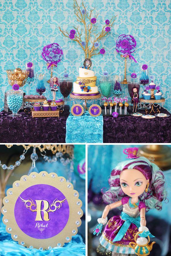 Ever After High Madeline Hatter Inspired party - blue/purple/gold color scheme