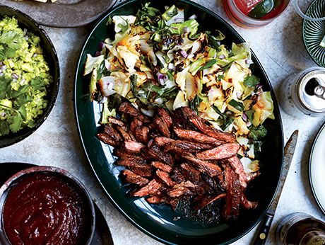 Skirt-Steak-Fajitas-with-Grilled-Cabbage-and-Scallions-51214630: Beef ...