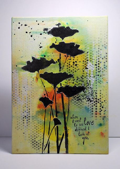 Eileen's Crafty Zone: Brusho Paints and a Donna Downey Stencil.