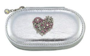Heart Silver Small Make up Brush Case Set of 5 Brushes by Spring Street. $29.50. Make up Brush case with a Heart charm.. The Heart Charm is decorated with crystals.. The case contains 5 brushes and measures about 4 ¼ inches.. Heart Silver Small Make up Brush Case Set of 5 Brushes. A great compact way to take your beauty tools with you for everyday or for travel.. Make up Brush case with a Heart charm.  The case contains 5 brushes and measures about 4 ¼ inches.  Th...