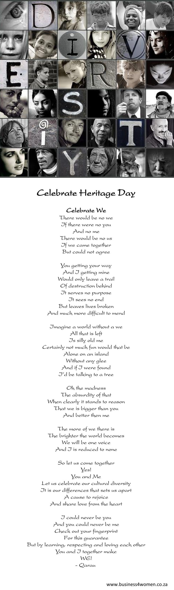 We wish you a colourful Heritage Day! South Africans across the spectrum are encouraged to celebrate their culture and the diversity of their beliefs and traditions, in the wider context of a nation that belongs to all its people.  Please share this beautiful poem!
