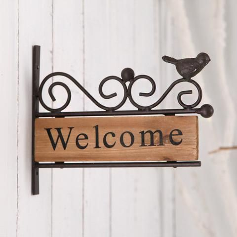 Iron & Wood Welcome Sign - Vintage iron and wood welcome sign that mounts on the wall of your porch, outside of your garden or in front of your store!