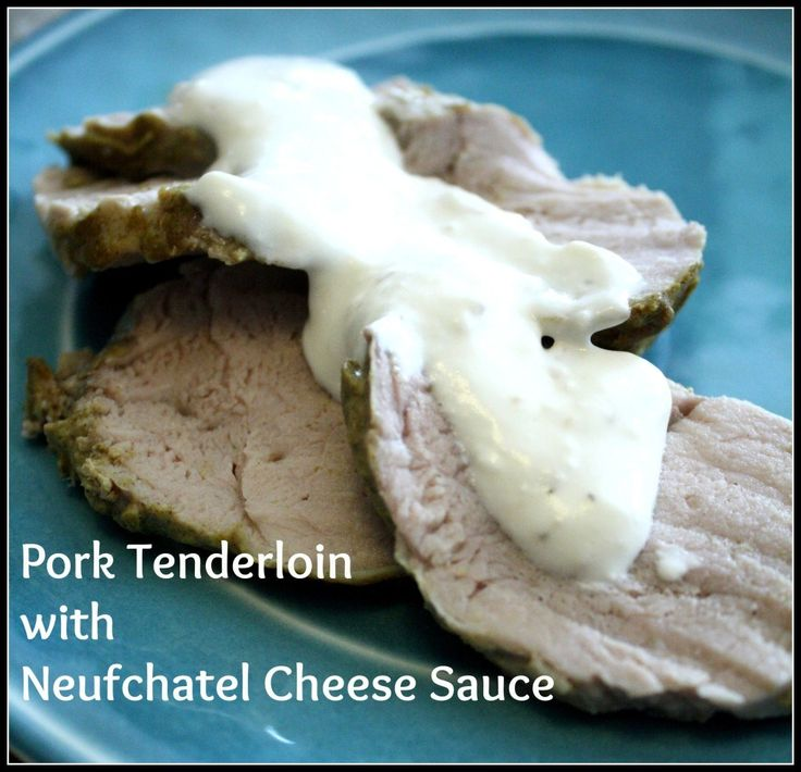 Pork Tenderloin with Neufchatel Cheese Sauce is an easy-yet tasty dinner option. Low carb and great protein. #pork #lowcarb