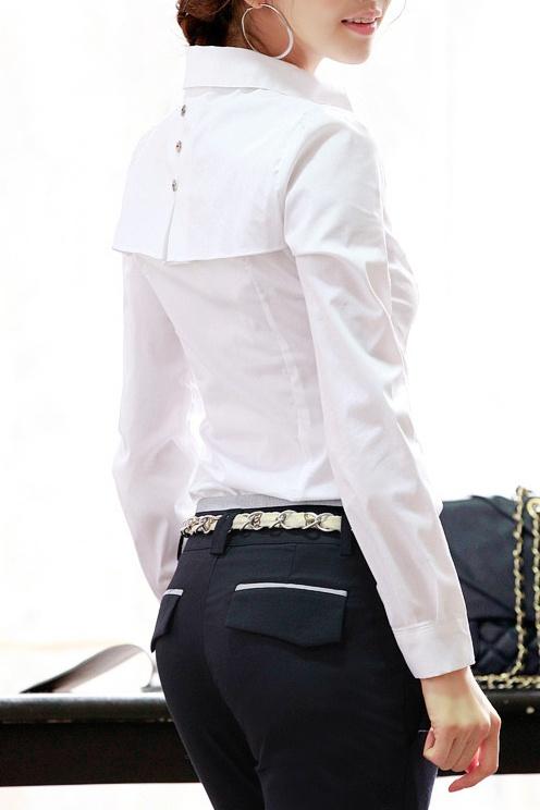 Боди с пелеринкой белая | Блузки, рубашки, туники | Одежда | Женская одежда | justes - Купить одежду в Москве