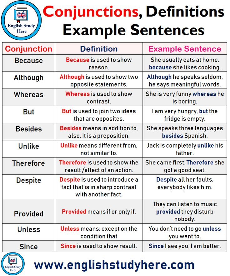 Conjunctions, Definitions and Instance Sentences in English