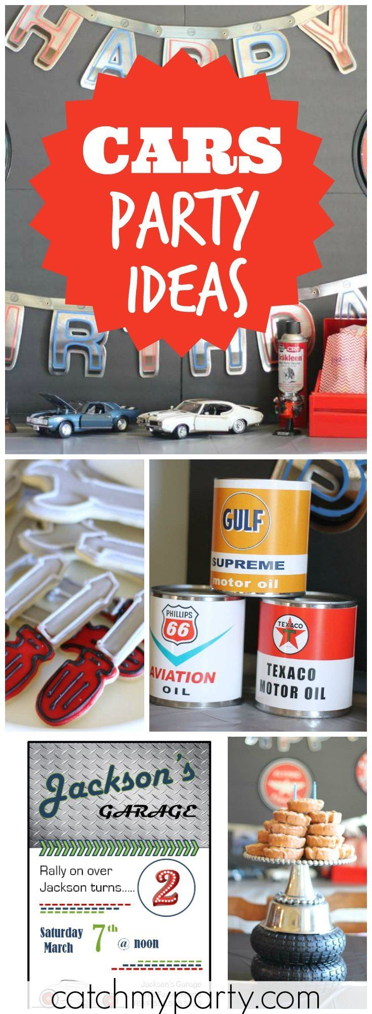 How cool is this classic, vintage car birthday party?! See more party ideas at Catchmyparty.com!