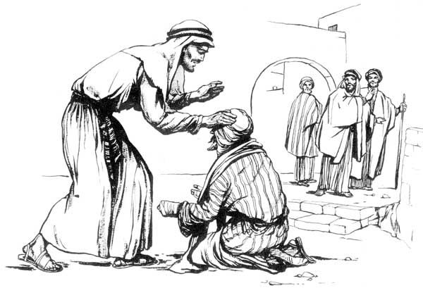 Jesus touching and healing a leper
