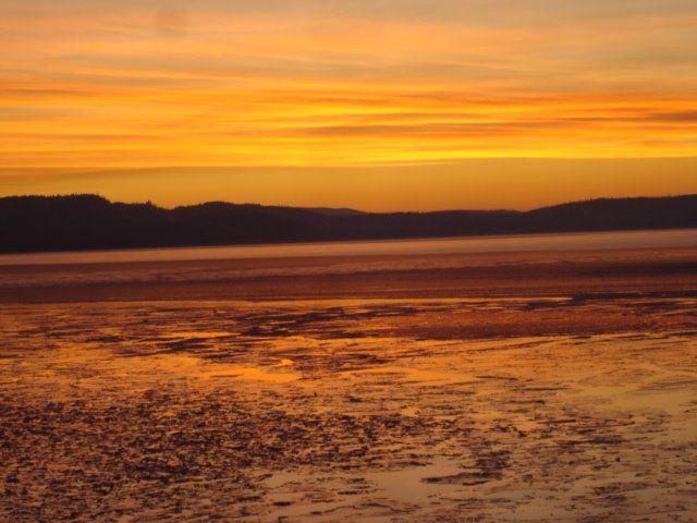 Winter sunset Francois Lake. BC