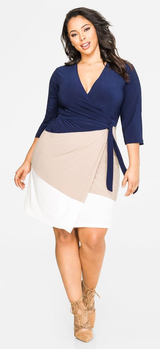 Plus Size Tri-Tone Wrap Dress