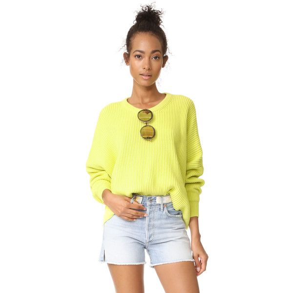 Free People Festival Pier Pullover (104 AUD) ❤ liked on Polyvore featuring tops, sweaters, yellow, yellow sweater, cropped pullover sweater, crew-neck sweaters, long sleeve crop top and long sleeve pullover sweater
