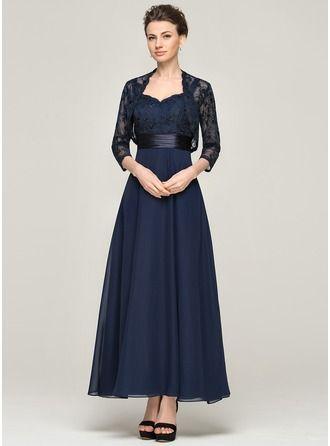 Vestidos princesa/ Formato A Coração Longuete De chiffon Renda Vestido para a mãe da noiva