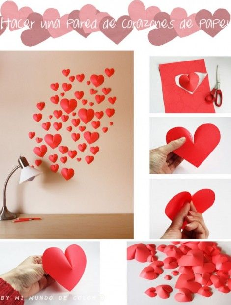 DIY Walls decorated with paper hearts