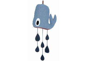 grappige walvis mobiel met druppels Ferm Living | kinderen-shop Kleine Zebra