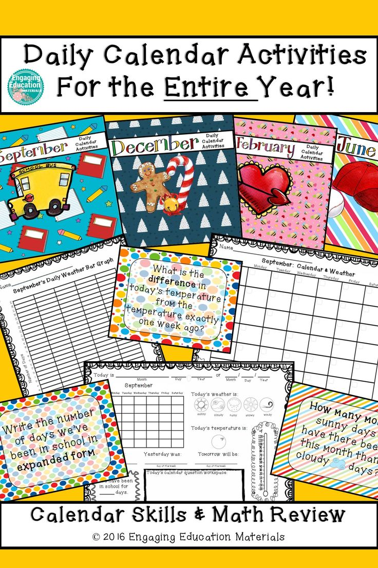 Calendar Activities Year 2 : Daily calendar activities for the entire year