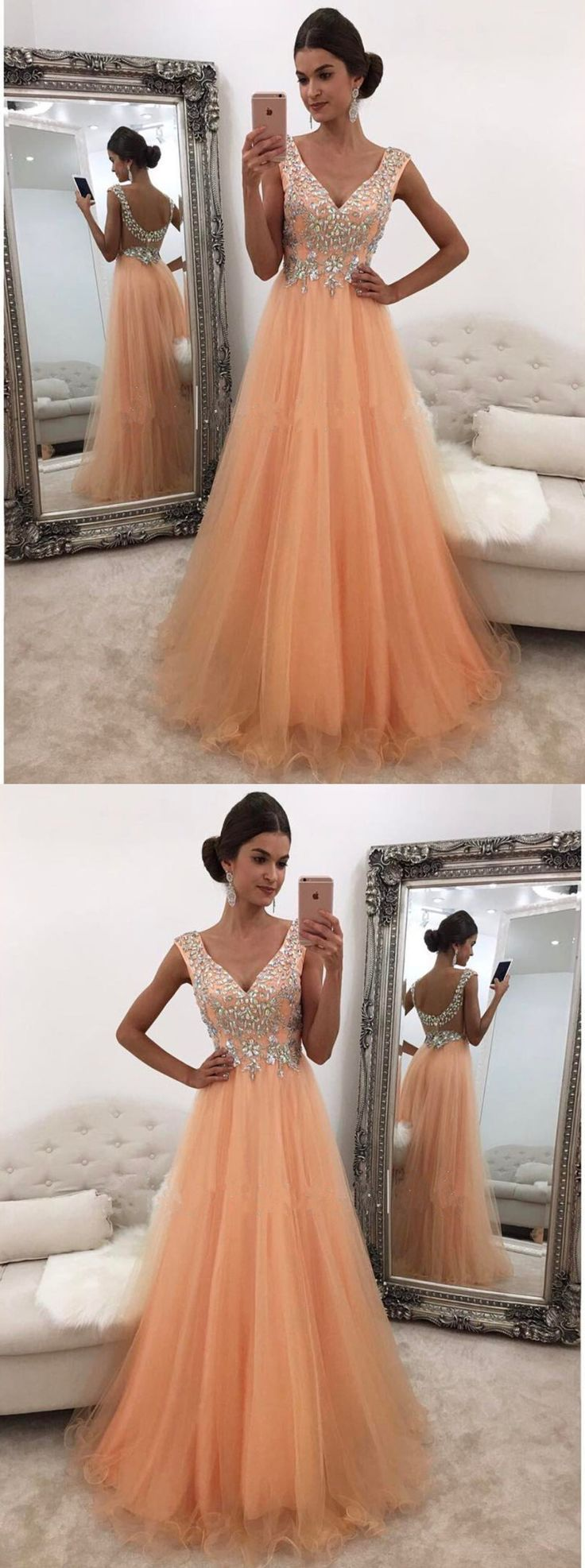 Beaded Tulle Prom Dress, A-Line Long Prom Dress, Low Back Orange Evening Dress	#promdress #longpromdress #elegantpartydress #uniqueeveningdres #simplepromgown #RosyProm #Vneckpromdress #tullepromgown