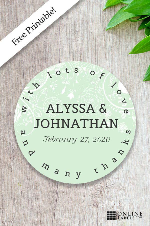 Dainty Wedding Sticker Template Free Wedding Templates Wedding Labels Labels Printables Free