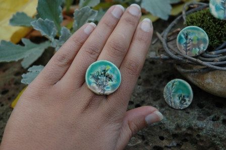 Handmade Ceramic Ring by SaSuDesigns on Etsy, $15.00