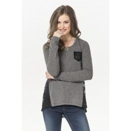 Heather grey shirt with black crochet back - i just love crochet details #ardenewishlist #ardenelove