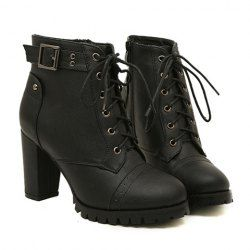 $17.07 Stylish Women's Combat Boots With Buckle and Rivets Design