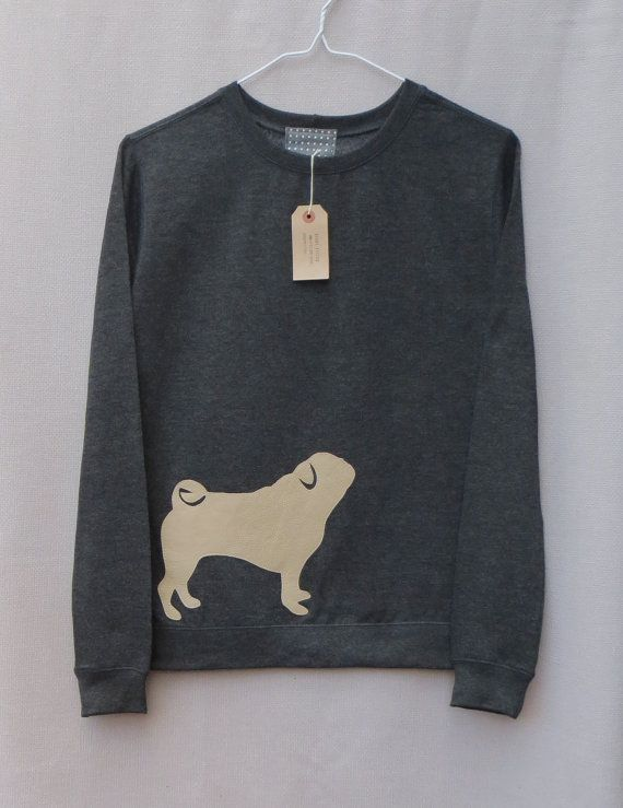 Leather Pug Jumper Dark Grey Heather Lightweight Crew Neck Sweatshirt on Etsy, $62.93 AUD