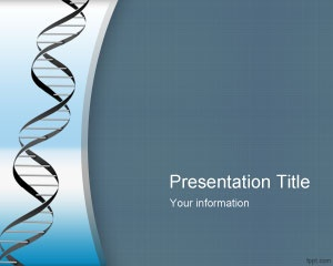 Free Genetic PowerPoint Template with blue background and DNA String