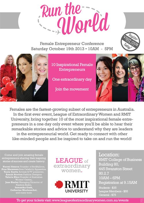 I'm excited to be one of 10 female entrepreneurs speaking at the Run The World Conference in Melbourne on Saturday 19 October, run by The League of Extraordinary Women. If you're going to be there, make sure you come say HI! Here are some details from the organisers: 10 inspirational female entrepreneurs. One extraordinary day. Join the movement. In partnership with RMIT University, the League of Extraordinary Women will be hosting the first ever female entrepreneurs' one-day conference in…