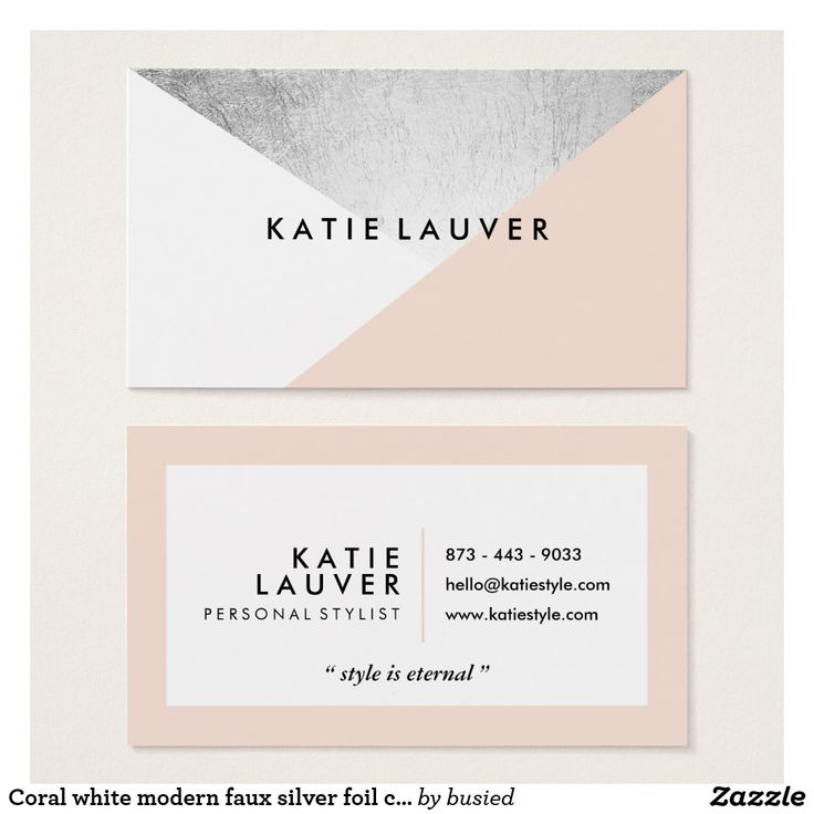 Coral white modern faux silver foil color block business card | Zazzle.com
