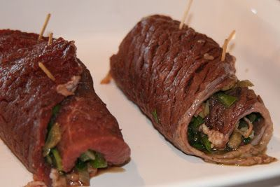 Stuffed round steak rolls = I think I would probably marinate the beef first to be sure it is tender