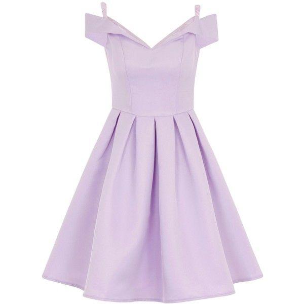 Chi Chi London Bardot Midi Dress ($92) ❤ liked on Polyvore featuring dresses, purple, women, midi dress, vintage style prom dresses, purple prom dresses, purple cocktail dress and purple knee length dress
