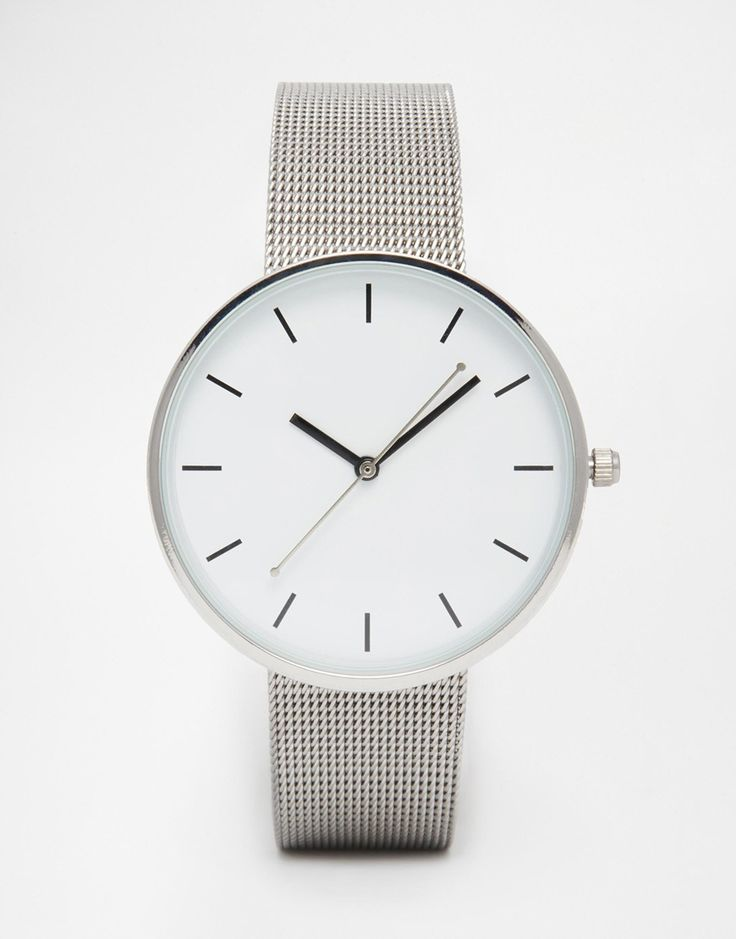 Image 1 of ASOS Minimal Mesh Large Face Watch