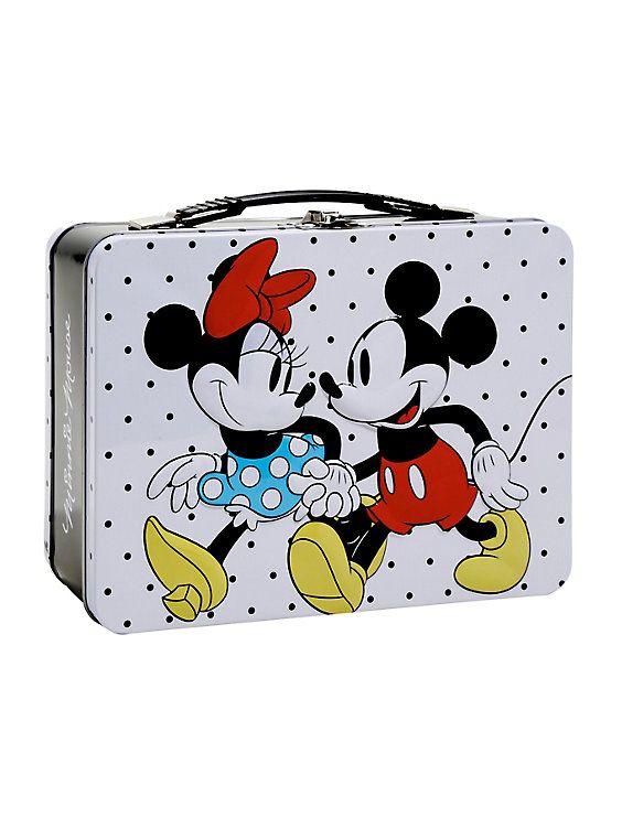 Disney Mickey & Minnie Mouse Polka Dot Metal Lunch Box,