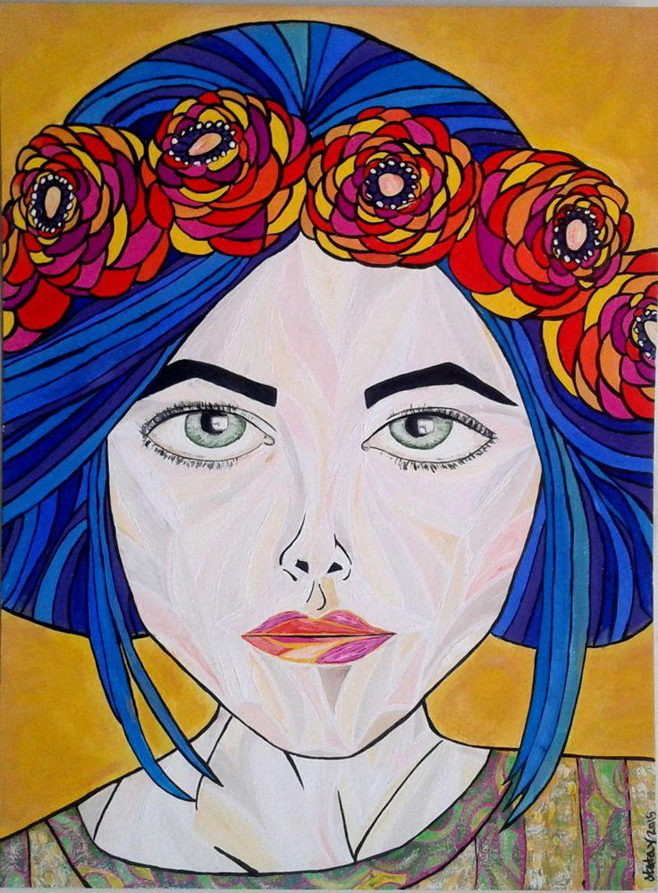 арт рисунок иллюстрация девушка цветы ободок art drawing atatay girl