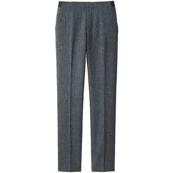 Tweed Trousers (£15) ❤ liked on Polyvore featuring pants, gray pants, elastic waist pants, uniqlo pants, gray tweed pants and tweed trousers