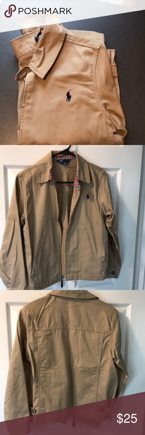 Boys Polo Jacket Khaki cotton lightweight jacket.  Perfect for spring.  Worn a few times to church.  Fits more like 10/12. Polo by Ralph Lauren Jackets & Coats
