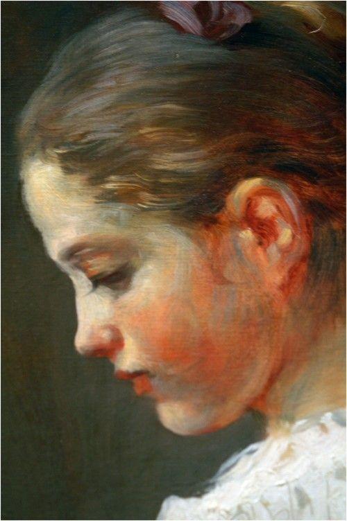 La lectora, hacia 1776, Jean Honoré Fragonard, (Washington, National Gallery). Precioso y emocionante momento de intimidad, este cuadro es uno de las más célebres de la segunda mitad del siglo XVIII. La gama cromática que utiliza Fragonard parece anunciar Renoir.