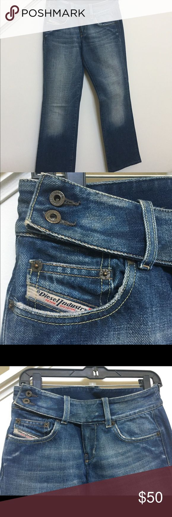 Diesel cropped jeans NEVER WORN! Deisel jeans with great fade and double button waist band. Diesel Jeans