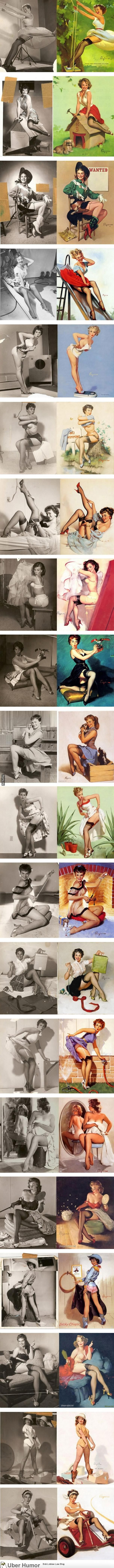 lovely pinup girls - the contrast between the model's set-up and the final image is striking in it's lack of glamor.