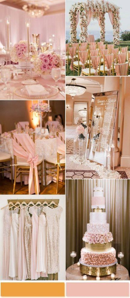 Best wedding themes spring gold blush pink ideas