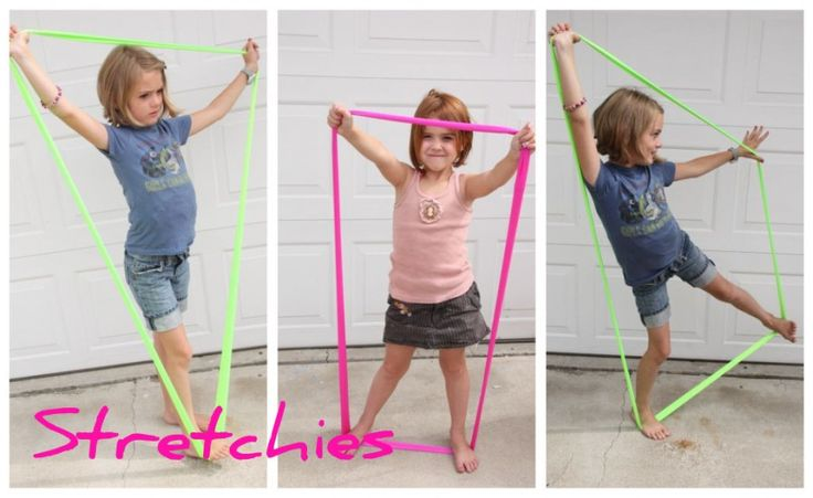 DIY Shape Stretchies for Creative Movement - these would make an awesome homemade Xmas present for the kids & great indoor sensory exercise in the winter