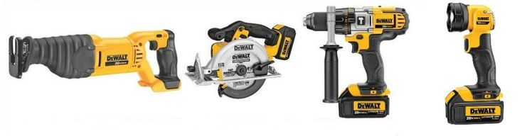 DEWALT Model DCK491L2 consists of DCD985 Hammer Drill,  DCF885 Circular Saw, DCS381 Reciprocating Saw, DCL040 LED Work Light, and accessories like batteries, charger, contractor bag, and side handle.