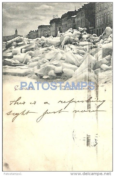 20576 CANADA MONTREAL ICECLODS AT THE END OF COMMISSIONER STREET YEAR 1901 CIRCULATED TO BELGIUM POSTAL POSTCARD