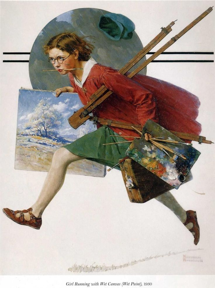 I have never seen this Rockwell painting! love it! hc  Girl Running with Wet Canvas (1930) by Norman Rockwell