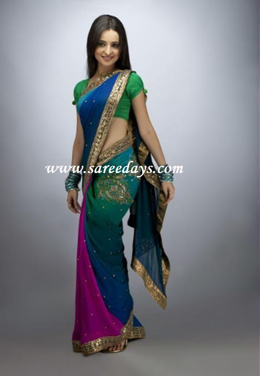 Latest Saree Designs: sanaya irani in multicolour designer saree