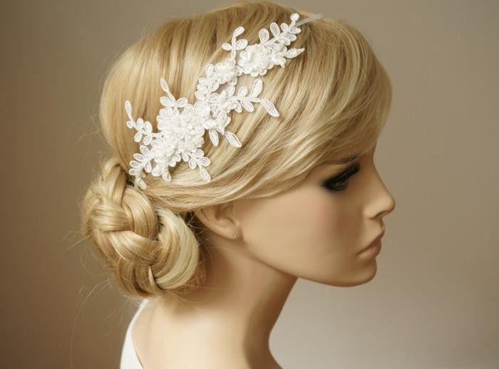 Haarschmuck & Kopfputz - Bella Braut Haarband Stirnband Spitze Perlen ivory - ein Designerstück von Elizabethmode bei DaWanda